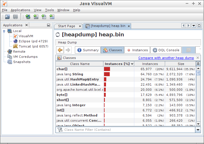 Heap Dump in VisualVM